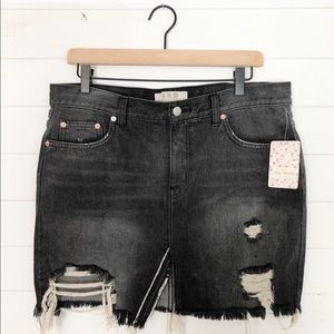 Free People Denim Distressed Skirt Black